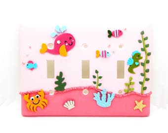 Under the Sea Children's Light Switch or Outlet Cover - Pink, Orange, Turquoise - Nautical Light Switch Cover - Toggle or Rocker Cover
