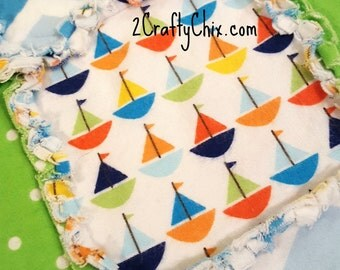Sailboats Flannel Rag Edge Quilt 30in by 40in Handmade for Babies, Toddlers and Kids