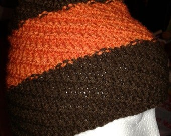 Hand Knitted Brown and Carrot color Hat with pompom, fits age 6 to Adult