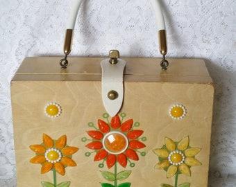 Enid Collins, Wooden Box Handbag, Flower Power, Orange, Yellow and Green
