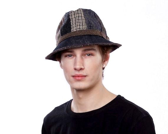 Patchwork Fedora Hat Fall Fashion Winter Hat Packable Hat Men's Hat Wool Tweed Fedora Hat Tartan Plaid Denim Hat Fall Accessories Gift Hat