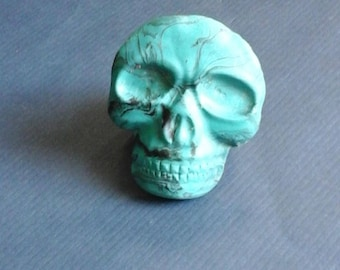 faux turquoise skull pin