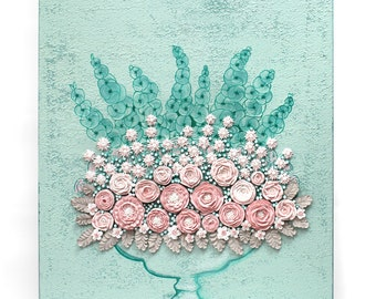 Floral Wall Art Canvas Still Life - Pink and Teal Sculpted Rose Bouquet - Small 20x24