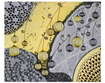 Yellow and Gray Wall Art Abstract Painting on Canvas - Small 24x20