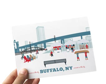 buffalo ny, buffalo, ny, buffalo ny art, canalside buffalo ny, city thank you cards, naval museum, kayakers, bikers, artisan market