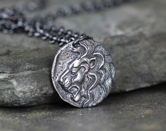 Lion Head Pendant - Rustic Necklace - Mens Jewellery - Lion Head Coin Necklace - Sterling Silver