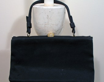 Vintage 1950s Black Satin Evening Purse by After Five