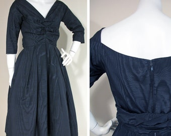 1950s Vintage Black Moiré Dinner or Party Dress SZ S