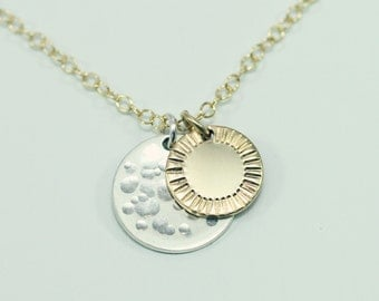 Sun and moon necklace - delicate sun necklace - gold disc necklace - boho moon jewelry - sun necklace - sun jewelry - supermoon astrology