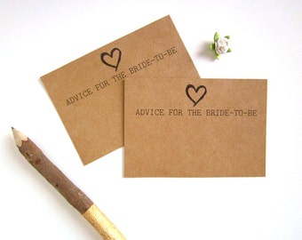 Advice for the Bride - Bride To Be Advice Card - Bridal Shower Advice Cards - Bridal Shower Games - Rustic Bridal Shower Theme - Kraft Brown