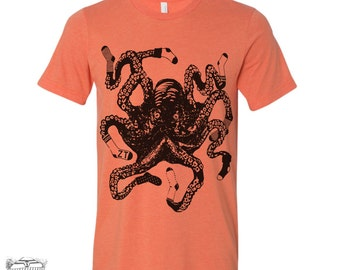 Mens Sock OCTOPUS t shirt s m l xl xxl (+ Color Options) hand screen printed