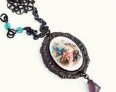 Cherub Angel Cameo Necklace Vintage Angel Cameo Jewelry Fine Art History Necklace Oxidized Brass Victorian Pendant Necklace