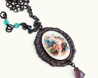 Cherub Angel Cameo Necklace Vintage Angel Cameo Jewelry Fine Art History Necklace Oxidized Brass Victorian Pendant Necklace