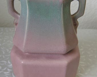"RUMRILL VASE, dusty pink to green..must see!!! 5 3/4"" tall"