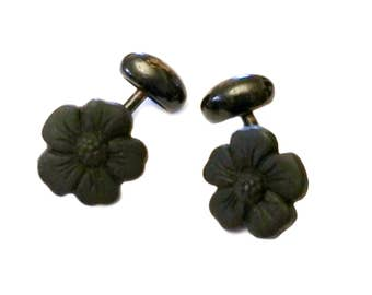 Victorian Cufflinks, French Jet Satin Glass Cufflinks, 1800s Men's Jewelry, Victorian Floral Jewelry, Glass Wedding Jewelry Mourning