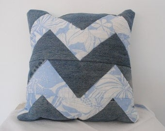 Blue Denim / Floral  Zig-Zag Chevron  Patchwork Quilted Cushion / Pillow Country Cottage / Shabby Chic