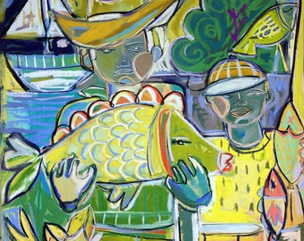 Fish Tale, Giclee print, Father and Son, Fishing, Print reproduction