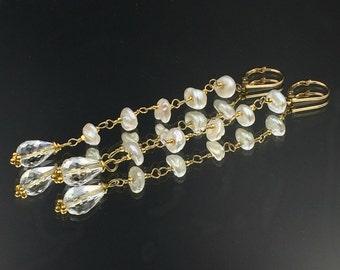 Keishi Pearl Dangle Earrings Long Statement Earrings Clear Crystal Gemstone Long Linear White Earrings Wire Wrap Gold Filled Earrings