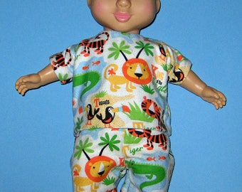 "Wonder Crew, Doll Clothes, Pajama Set,Tiger, Lion, Alligator, Toucan, 14"" or 15"" Doll Clothes, Boy Doll Clothes,  Will, James, Erik, Marco"