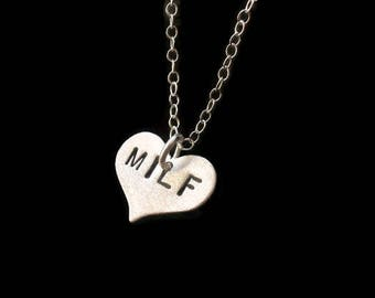 Wife Gift, Gifts for Mom, Mother's Day, MILF, Sterling Silver Heart Necklace, Dainty,Stamped Necklace, New Mom Gift, Charm Necklace, Cougar