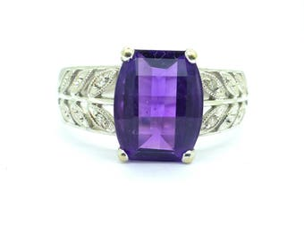 18ct Amethyst Diamond 18K white gold dinner ring English estate right hand dress ring wedding anniversary birthday gift*FREE SHIP
