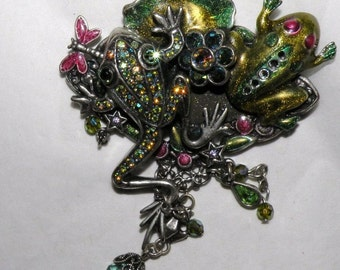 KIRKS FOLLY Jeweled Enamel Frogs on a Lilly Pad Brooch Free USA Shipping