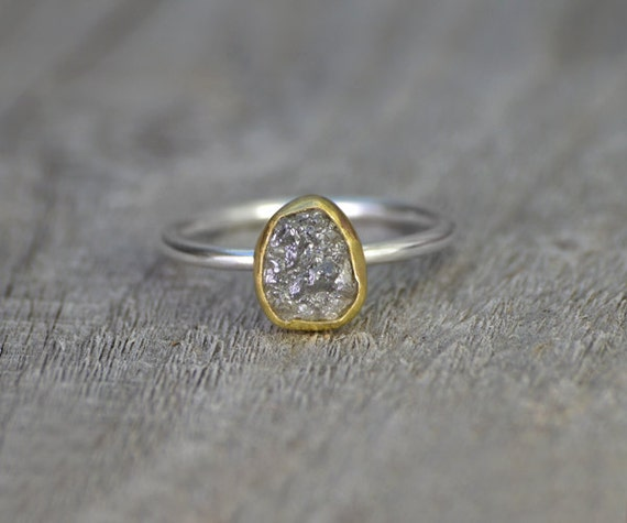 Raw Diamond Engagement Ring With 18k Yellow Gold, 0.95ct Rough Diamond Ring, Handmade In England