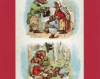 c1900 Fairy Tale The Three Bears Antique Book Illustrtion