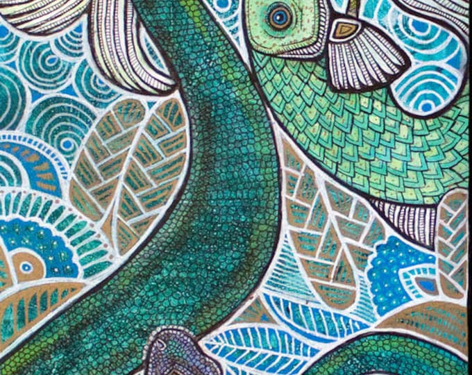 """Featured listing image: Original """"Zoological"""" Animal / Wildlife Painting by Lynnette Shelley"""