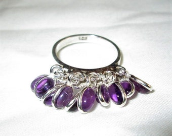 RING  -  10 - AMETHYST  - DANGLES    - 925 - Sterling Silver - size 7 1/4  purple 387