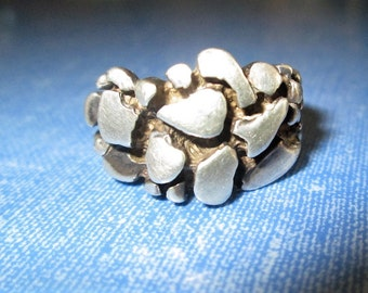 RING - SILVER NUGGETS - Unique - Patina - 925 - Sterling Silver - Size 9 1/2 Misc480