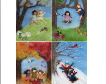 Needle Felted Waldorf Photo Print, Seasons, Set of Four, 8 by 10