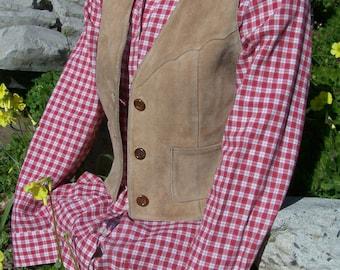 Suede Vest, Western Vest, Tan Suede vest, Leather Vest, Tan Leather vest, size S