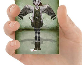 Steampunk ACEO Card - Steampunk Angel - Angel Of Love - ACEO Art Card - Steampunk Art - Cupid