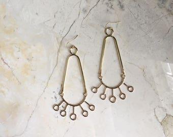 Alexandria Fan Earrings. Long Gold Dangles. Gold Chandelier Earrings. Statement Dangles. Bold Earrings. Modern Design. Brass. Gold Fill.