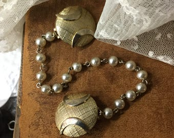 Neat Gold Tone Dome Faux Pearl Beaded Chain Sweater Clips 1950's 1960's Sweater Set Jewelry Feminine Woman