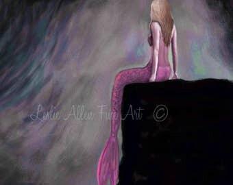"""Mermaid Art Mermaid Art Print Mermaid Wall Art Mermaid Decor Beach Art Decor Wall Hanging """"MERMAID PINK""""  Leslie Allen Fine Art"""