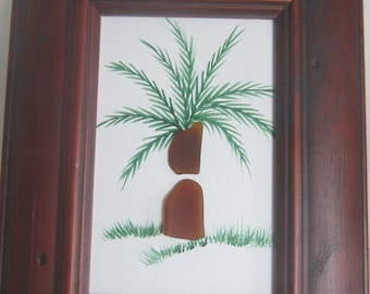 Sea Glass, Beach Glass , Hand Painted Palm Tree Picture in a Wood Frame