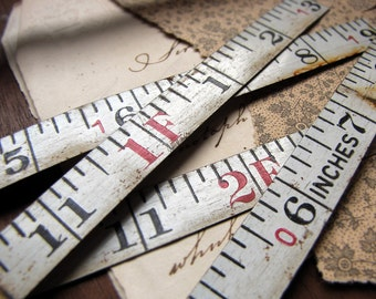 vintage steel measuring tape - white metal strips with printed numbers - found object assemblage supply - price per 3 feet