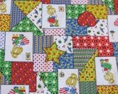 "Vintage 1970s Whimsical Patchwork Cheater Quilt Cotton Fabric 42"" x 16"" plus scraps"