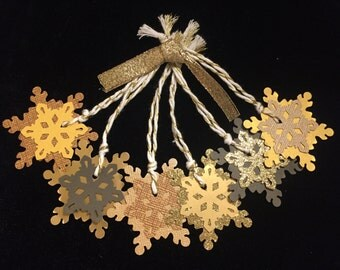 6 Gold, Glitter, and Brown Paper Snowflake Ornaments / Gift Tags / Decorations for Lupus!