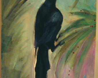 Original Black Bird crow painting acrylic on Canvas panel by Susan Sorrentino unframed