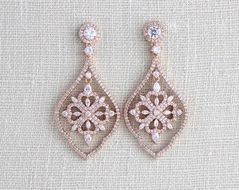 Rose Gold Bridal earrings, Bridal jewelry, Wedding earrings, Swarovski Crystal earrings, Chandelier earrings, CZ earrings, Bridesmaid gift