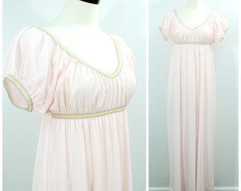 Vintage Pink Nightgown, 70s Sears Juliet Full Length Nightgown, Pink with Rainbow Trim Elastic Empire Waist Nightie Size 36 M