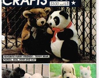 Plush Fur Teddy Panda Bear McCalls 660 8264 Sewing Pattern Vintage 1980s Stuffed Seal Cat Dog Childrens Toy Uncut Factory Folded