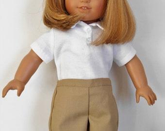 School uniform khaki shorts with white polo shirt fits American Girl or boy