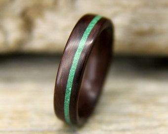 Wooden Ring - Indian Rosewood Bentwood Ring with Offset Malachite Inlay - Handcrafted Wood Wedding Ring - Custom Made