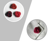 Men lapel pin. Knot lapel button. Wool lapel pin. Red shades. Boutonniere. Wine red, red, brick.