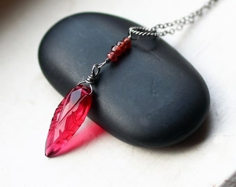"""Red Quartz Necklace, Leaf Necklace on Oxidized Sterling Silver - """"BerryLeaf"""" by CircesHouse on Etsy"""