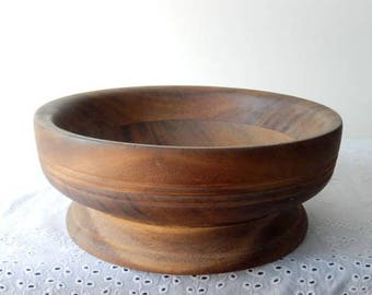 vintage hand turned bowl, large, heavy, solid wood, triple side rims, mid century, home decor, rustic, kitchen, farmhouse